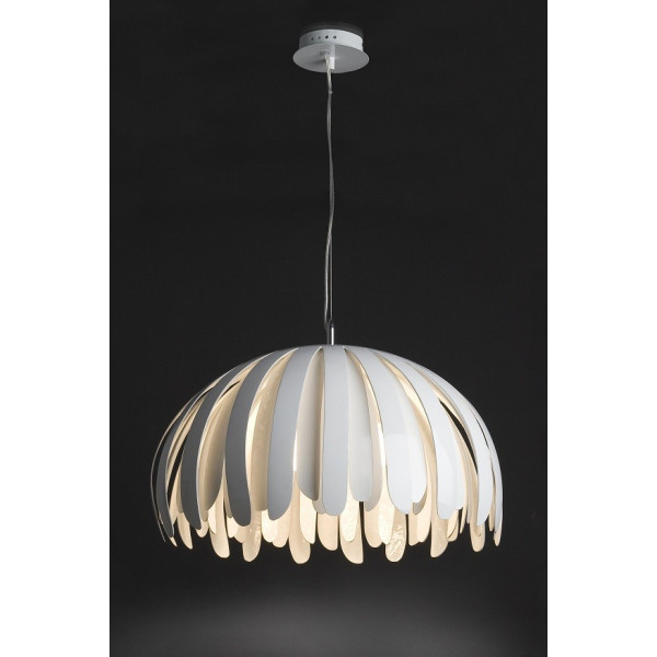 grande suspension design lamelles blanches lampe avenue