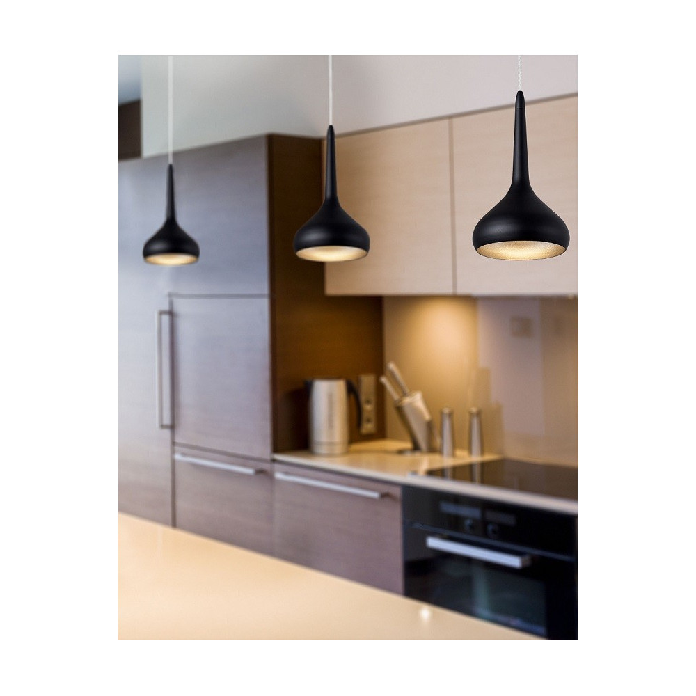 Suspension design noire led parfaite au dessus d 39 un bar - Suspension cuisine design ...