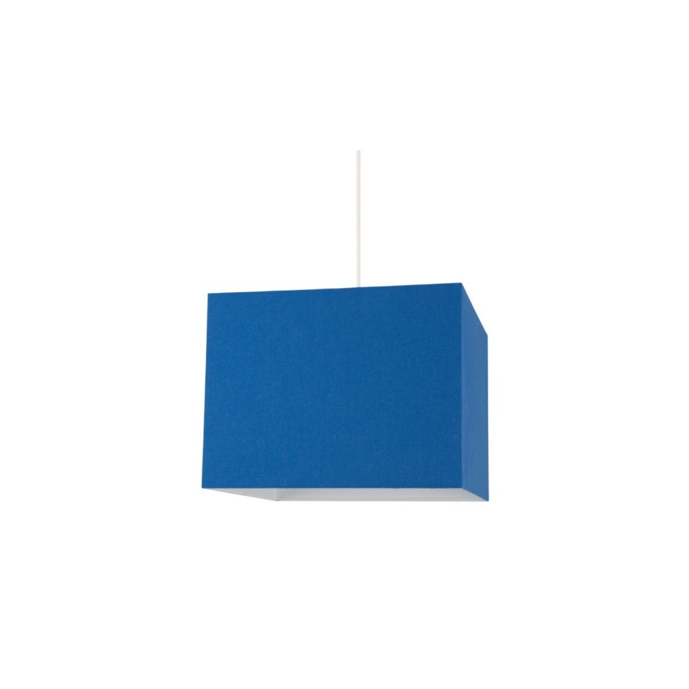 Suspension carr e abat jour bleu luminaire int rieur sur for Suspension bleu