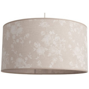 Suspension abat-jour cylindrique en lin beige