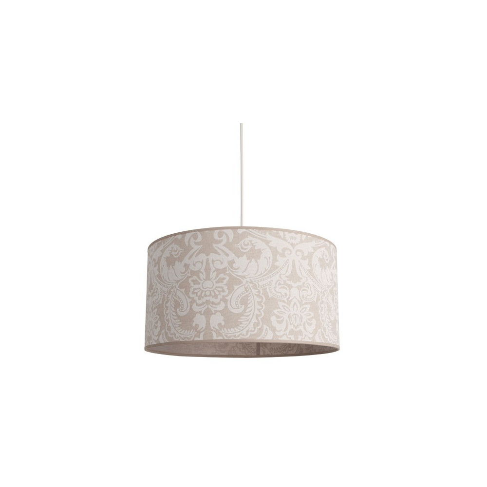 suspension abat jour cylindrique en lin beige avec motifs. Black Bedroom Furniture Sets. Home Design Ideas