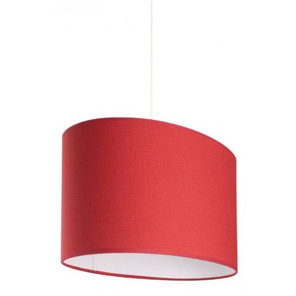 Suspension ovale abat-jour rouge