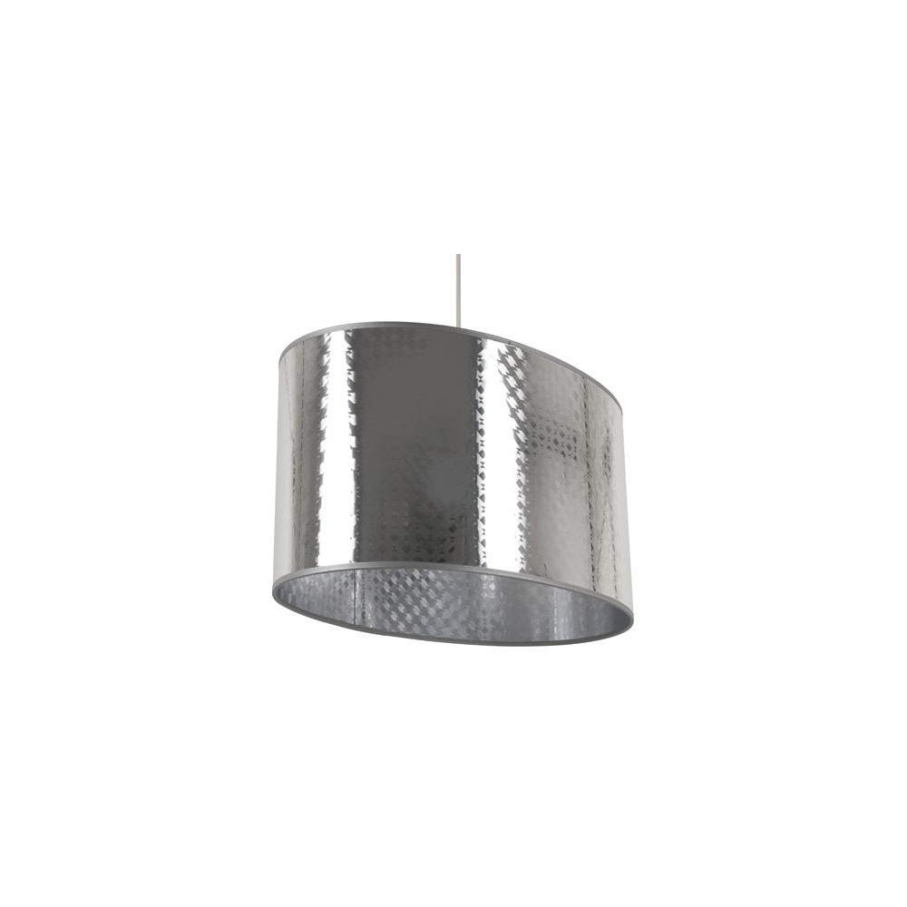 Grande suspension ovale grise argent e luminaire d co for Suspension grise
