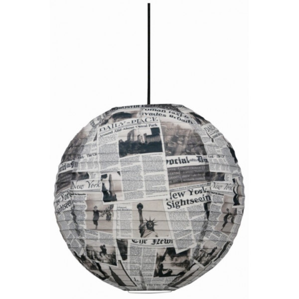 suspension boule japonaise style newspaper sur lampe avenue. Black Bedroom Furniture Sets. Home Design Ideas