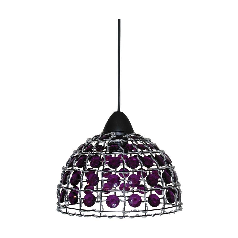 suspension d me m tal avec perles violettes luminaire oriental sur lampe avenue. Black Bedroom Furniture Sets. Home Design Ideas