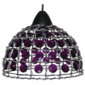 Suspension dôme avec perles violettes