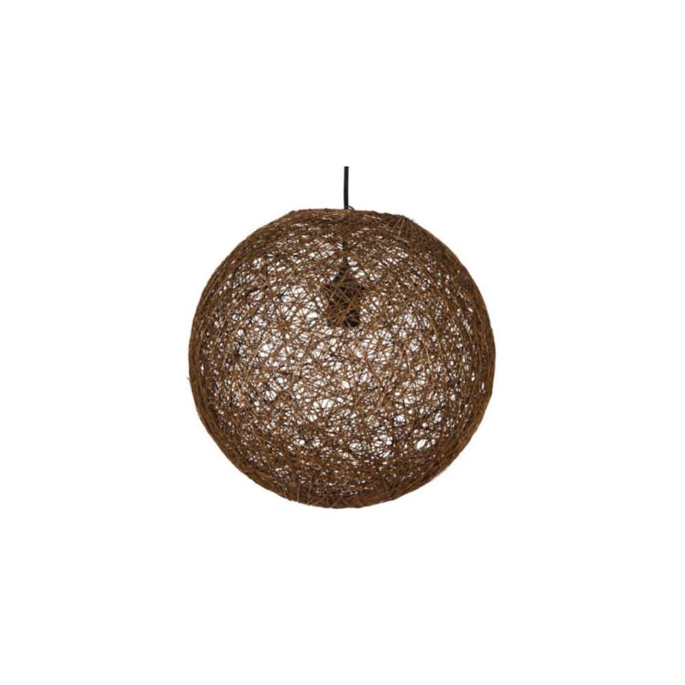 Suspension ronde en ficelle tress e marron luminaire en for Suspension ronde design