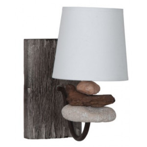applique nature en bois flott et galets coloris brun luminaire d co sur lampe avenue. Black Bedroom Furniture Sets. Home Design Ideas
