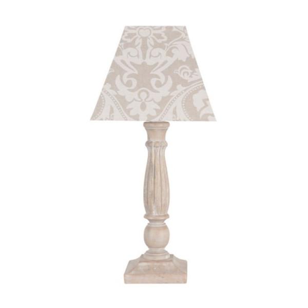 Lampe en lin beige arabesques