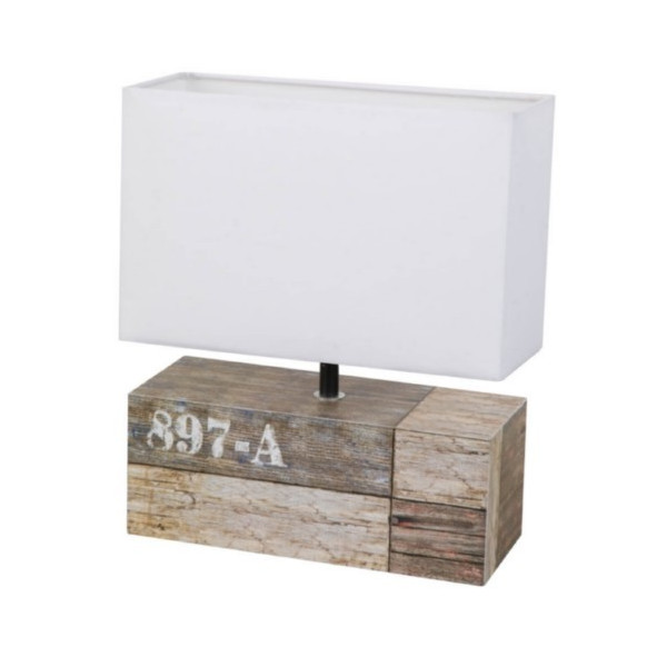 Lampe rectangulaire en bois style décor récup