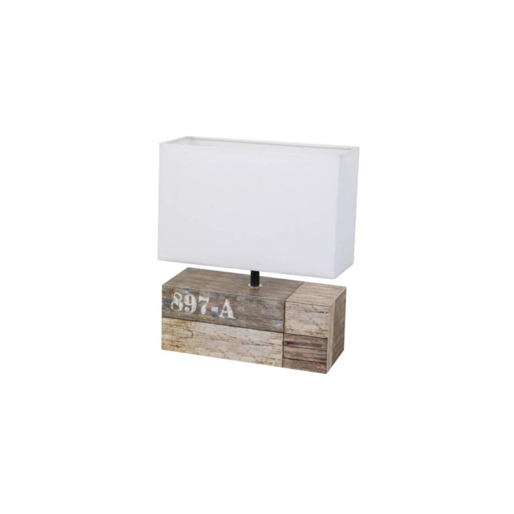 Lampe rectangulaire d cor bois de r cup luminaire de for Lampe a poser rectangulaire