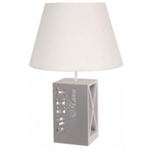 Lampe pied en bois carré sweet home