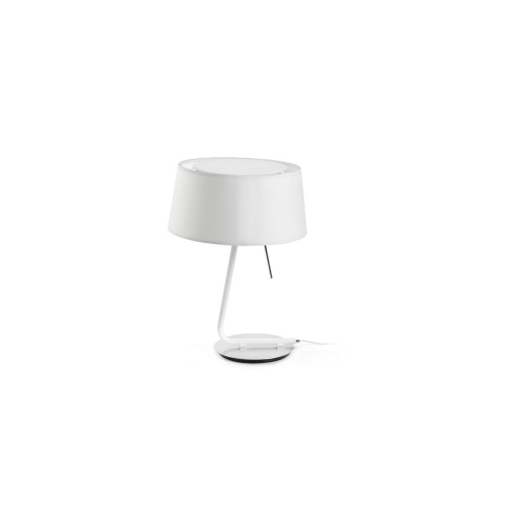 Lampe poser design abat jour blanc lampe avenue for Lampe halogene a poser