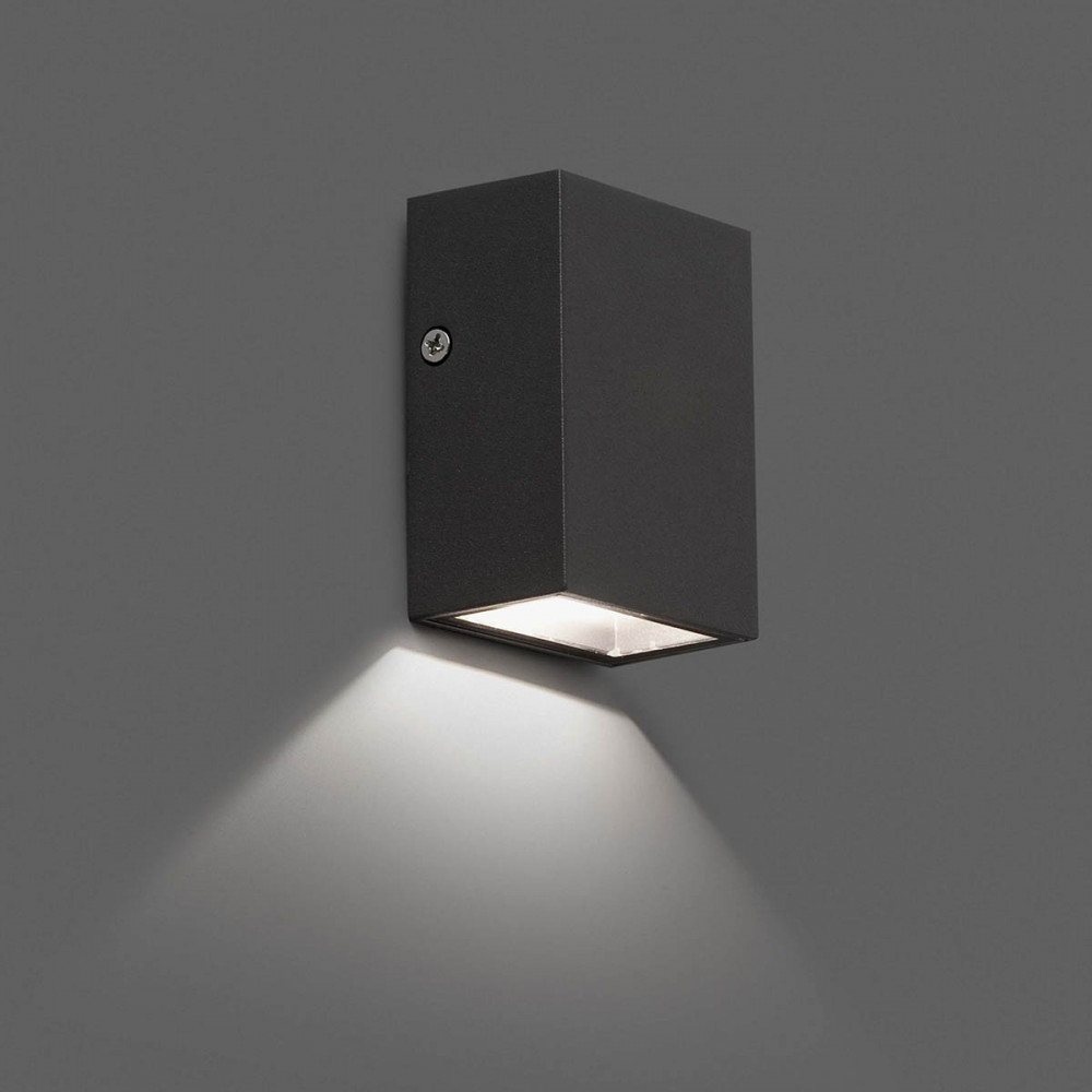 Applique d 39 exterieur cube gris fonc design led for Luminaire exterieur cube