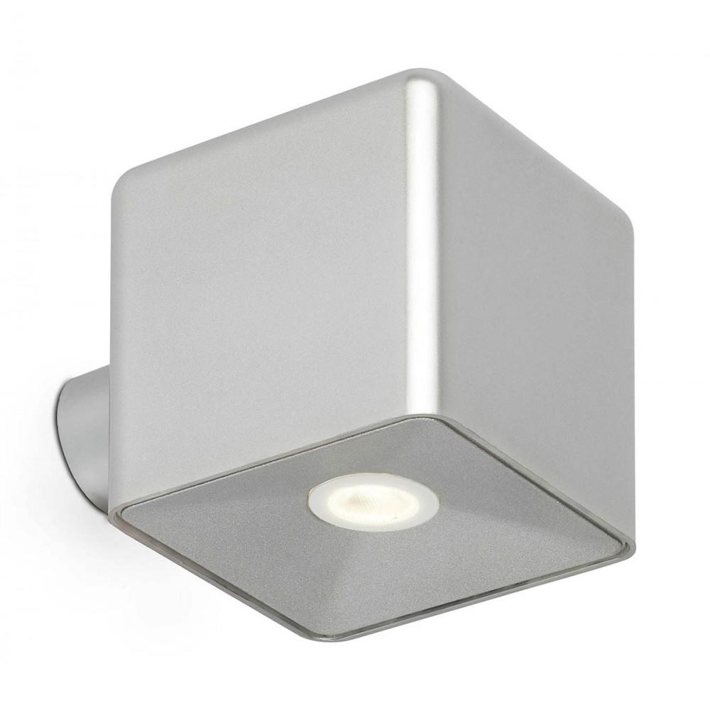Luminaire ext rieur led cube gris clair lampe avenue for Luminaire exterieur murale led