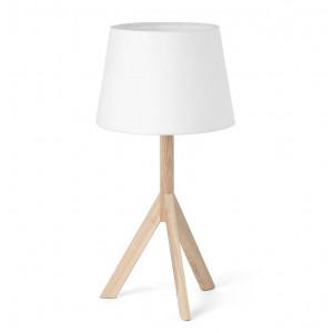 Lampe bois élégante abat-jour blanc