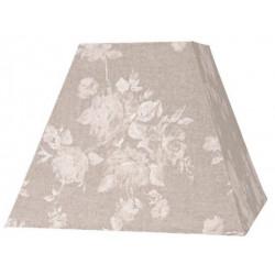 Abat-jour fleurs en lin beige carré