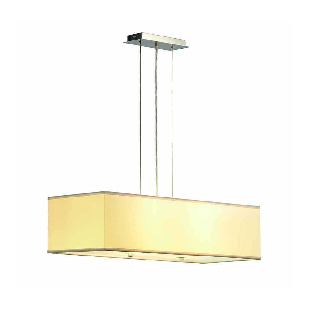 Suspension luminaire rectangle blanc avec diffuseur for Luminaire suspension exterieur design