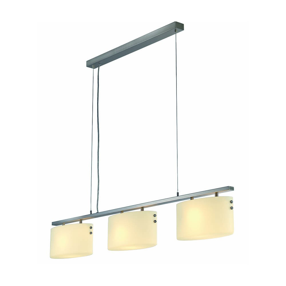 Suspension design triple en verre et m tal id ale au for Suspension luminaire triple