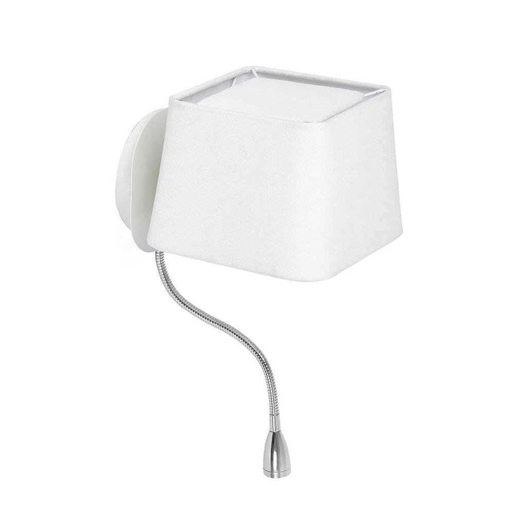 applique de chevet blanche avec liseuse led sur flexible. Black Bedroom Furniture Sets. Home Design Ideas