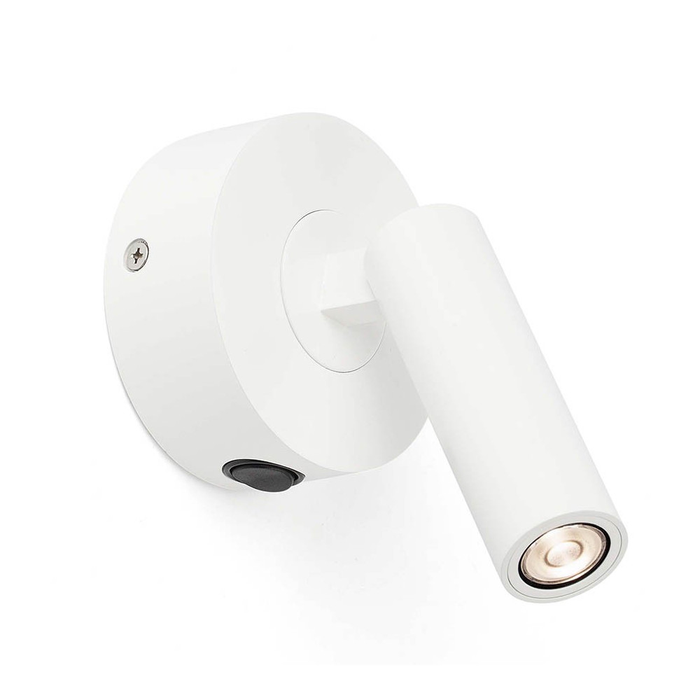 Petite applique de chevet blanche led en aluminium lampe avenue for Applique lampe de chevet