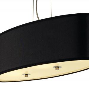 Suspension ovale noire avec diffuseur en verre