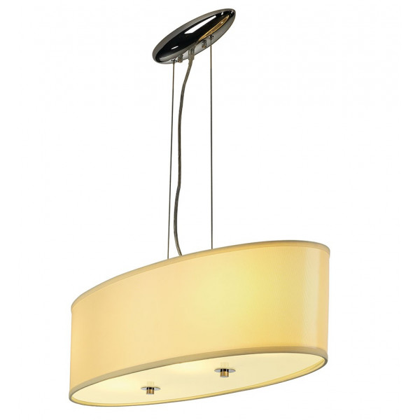 Grande suspension ovale beige