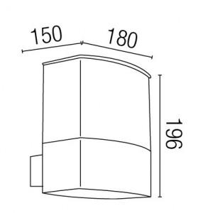 Dimensions applique extérieure grise