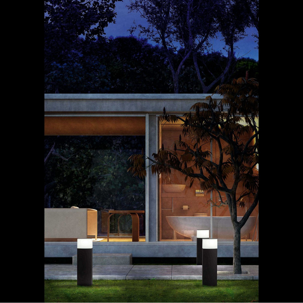 Borne ext rieure en alu gris fonc sign faro lampe avenue for Lumiere exterieur electrique