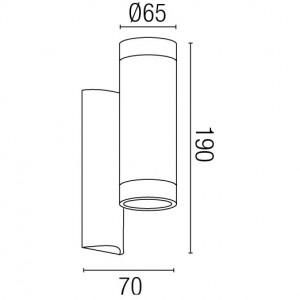 Dimensions applique extérieure cylindrique blanche