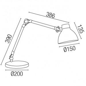 Dimensions lampe articulée bureau en alu gris et noir
