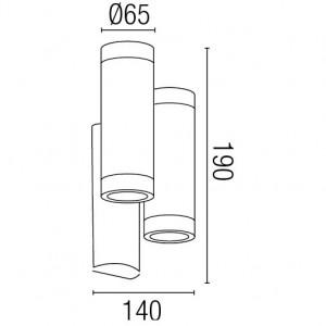 Dimensions applique extérieure avec double tube blanc