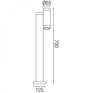 Dimensions borne de jardin cylindrique en alu blanc