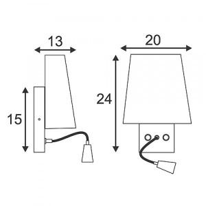 Applique de chevet avec liseuse LED et abat-jour en verre