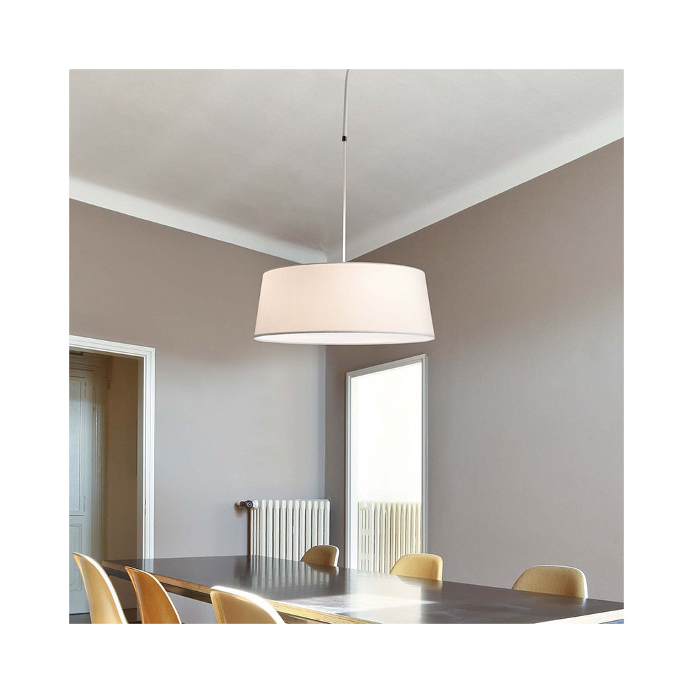 Suspension abat jour blanc en coton et tige en m tal for Lampe suspension blanche