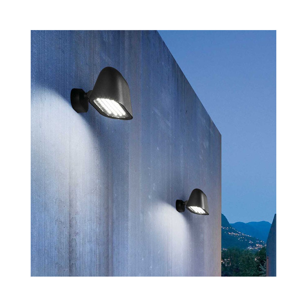 Belle applique jardin led au design moderne en alu gris fonc for Applique exterieur jardin