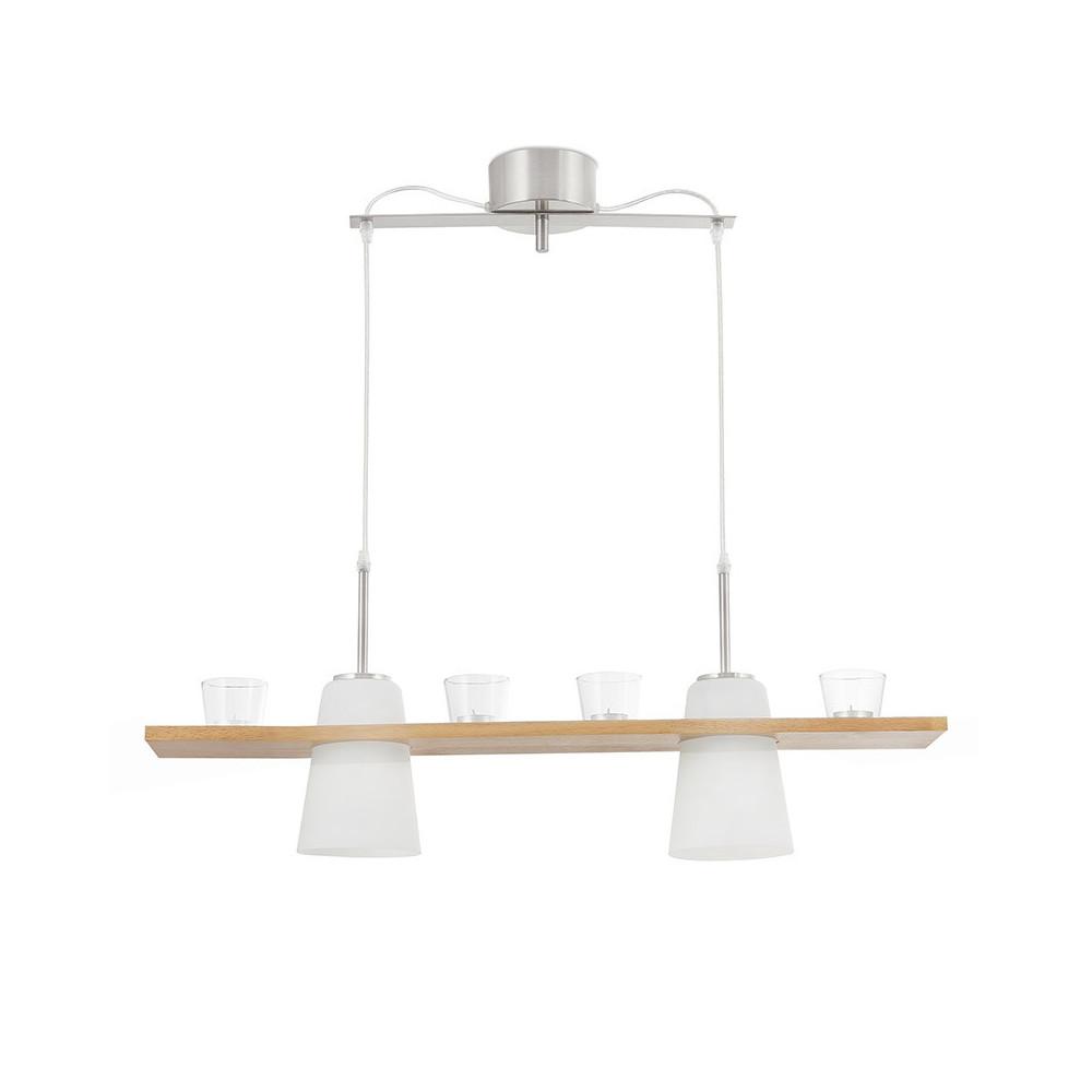 Suspension bois et verre tr s chaleureuse avec 4 photophores for Lampe suspension bois