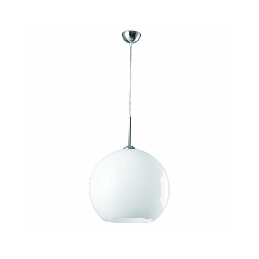 Suspension boule blanche design ann es 70 pop art 2 for Lampe boule suspension