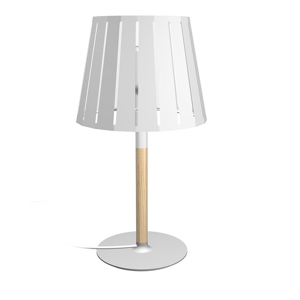 Lampe de chevet en bois avec un abat jour en m tal blanc for Applique lampe de chevet