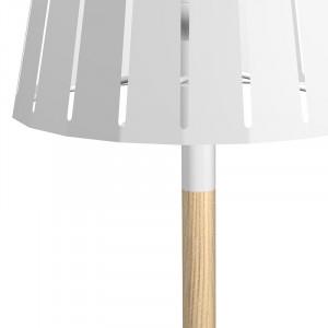 Lampe chevet bois abat jour métal blanc