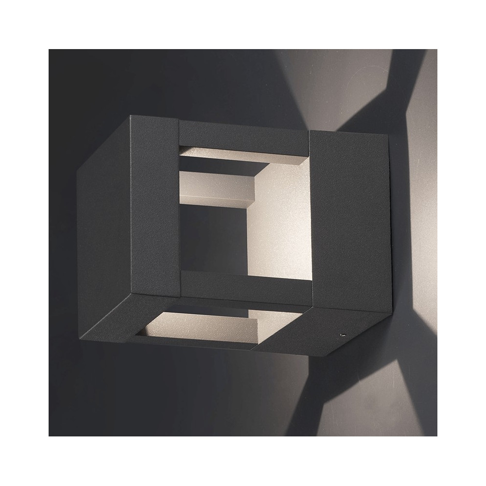 applique d ext rieur design en aluminium gris fonc led. Black Bedroom Furniture Sets. Home Design Ideas