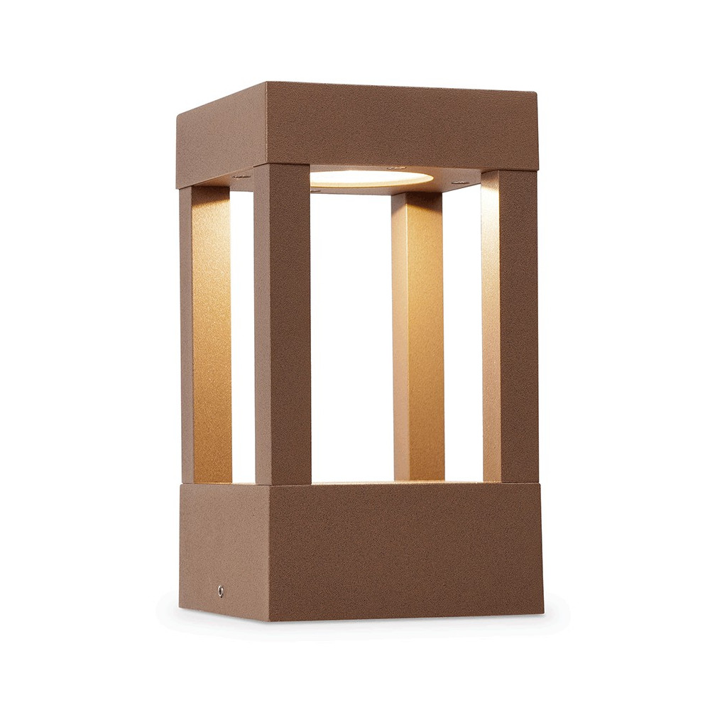 Borne design d ext rieur couleur marron rouille en for Borne luminaire exterieur