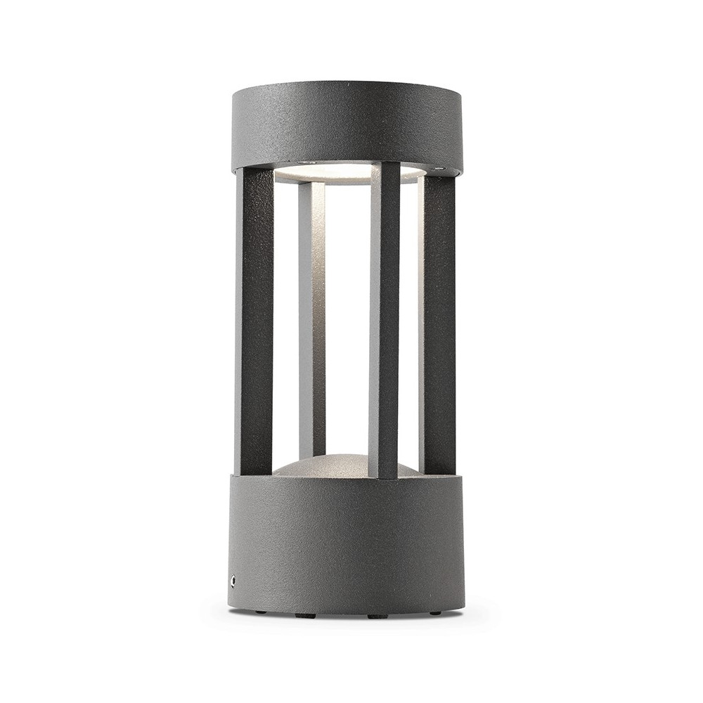 Borne design d ext rieur grise fonc e led en fonte d for Lampe exterieur led design