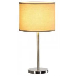 Lampe de table métal brossé abat jour beige