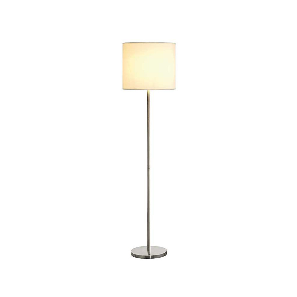 Lampe de salon m tal bross et abat jour blanc lampe avenue for Lampe suspension salon