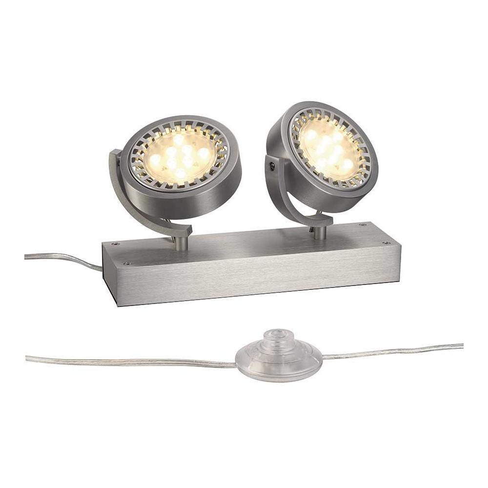 Double projecteur de sol en aluminium pour vitrine lampe for Projecteur double exterieur