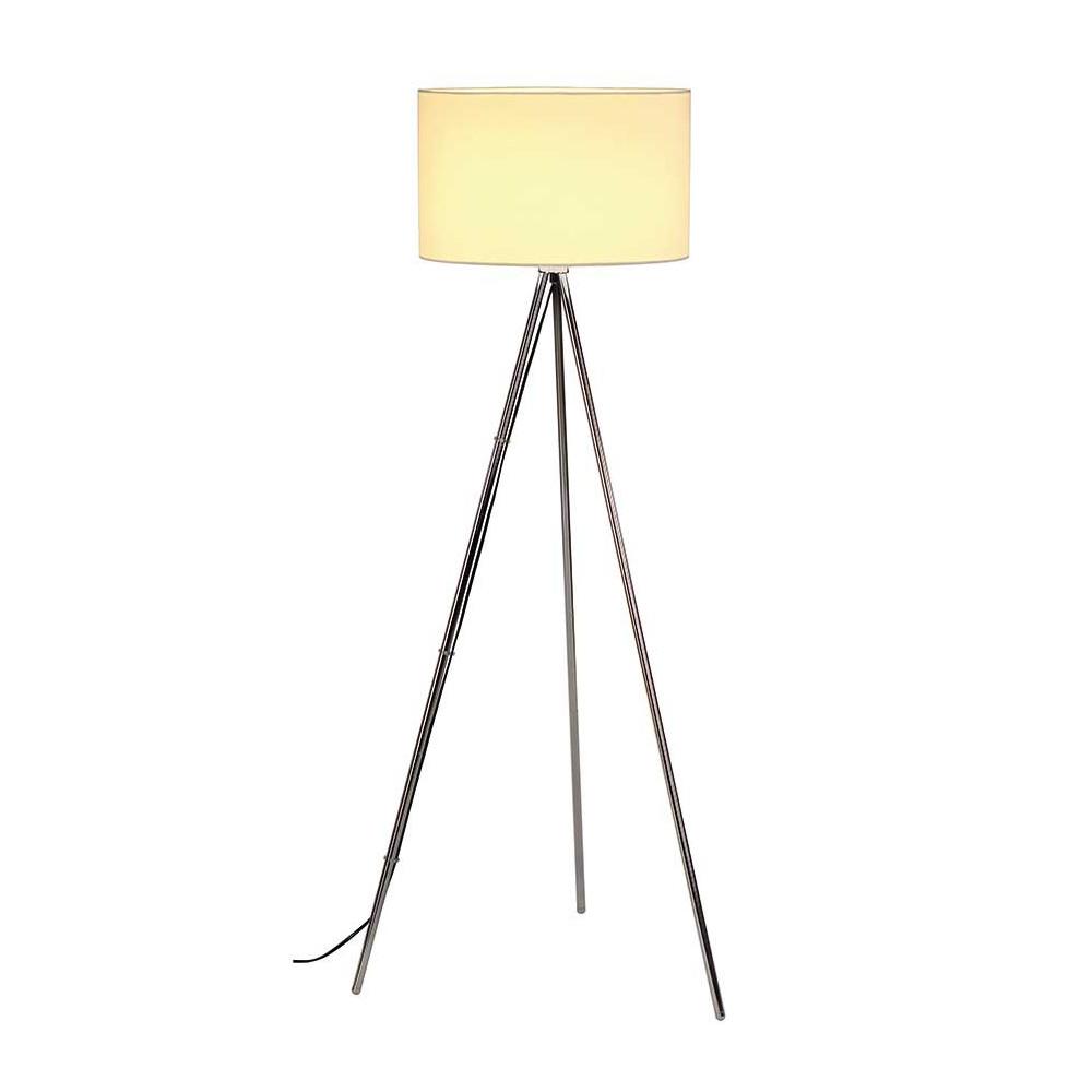 lampadaire tr pied chrom avec un abat jour blanc lampe avenue. Black Bedroom Furniture Sets. Home Design Ideas
