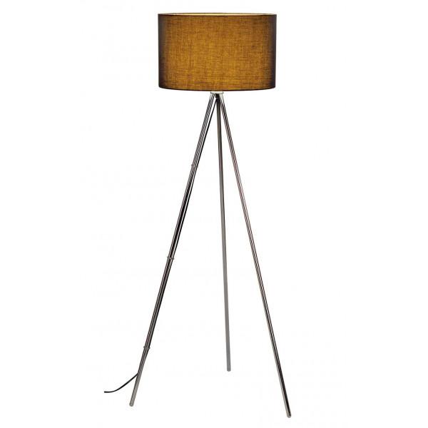 lampadaire avec tr pied chrom et abat jour noir luminaire de salon. Black Bedroom Furniture Sets. Home Design Ideas