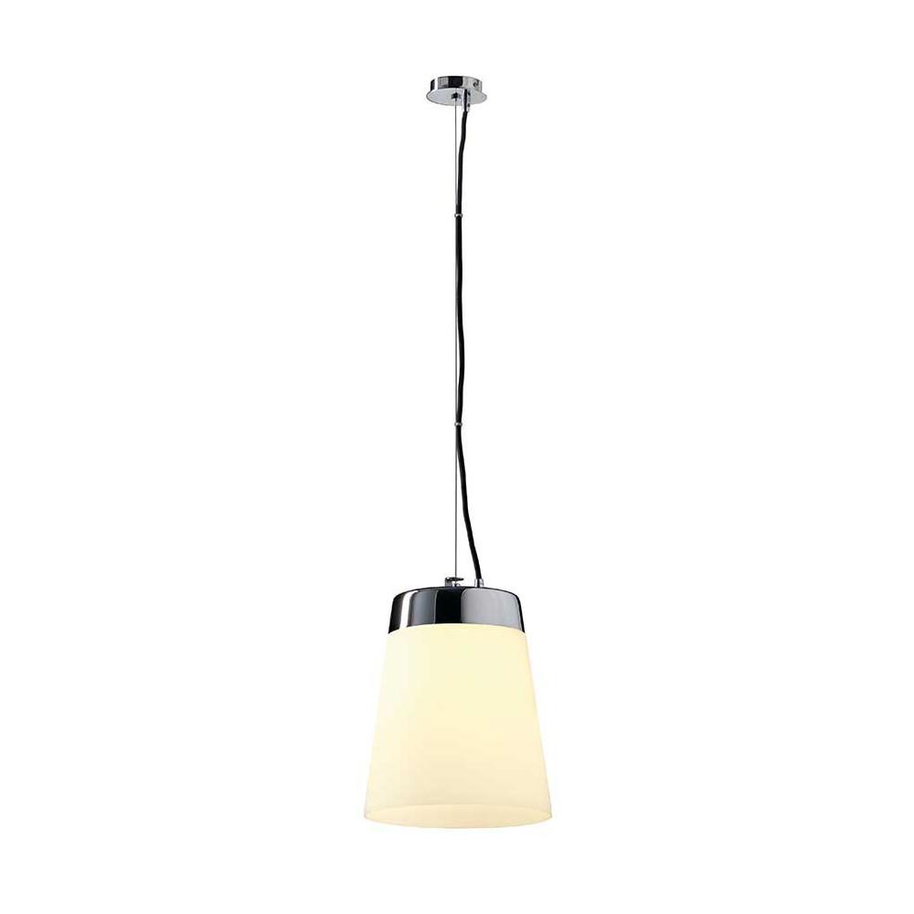 suspension en verre satin et m tal chrom un luminaire tr s l gant. Black Bedroom Furniture Sets. Home Design Ideas