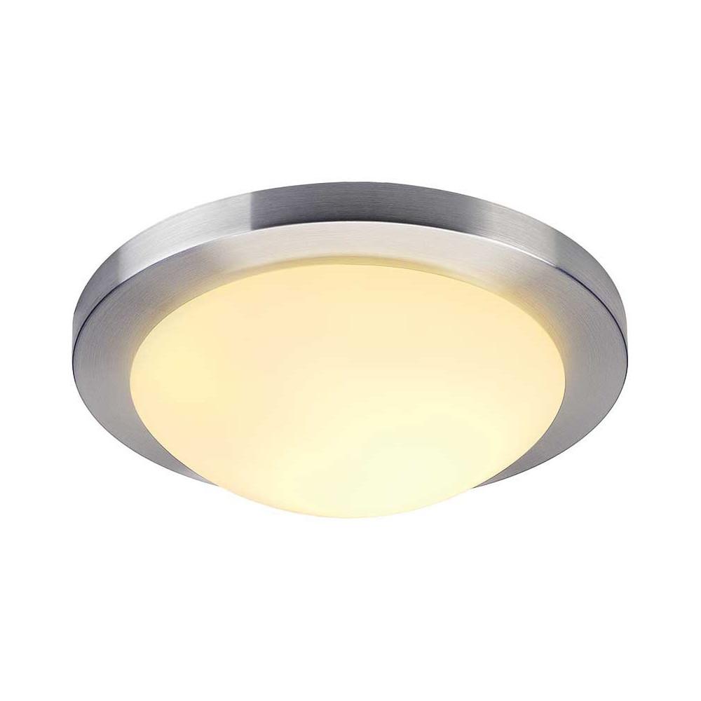 Plafonnier rond en verre et alu bross en vente sur lampe for Luminaire design entree